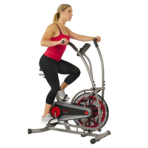 Sunny Health & Fitness Motion Air Bike, Fan Exercise Bike with Unlimited Resistance and Tablet...