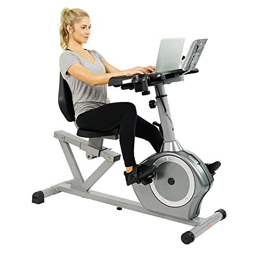 Sunny Health & Fitness Magnetic Recumbent Desk Exercise Bike, 350lb High Weight Capacity,...