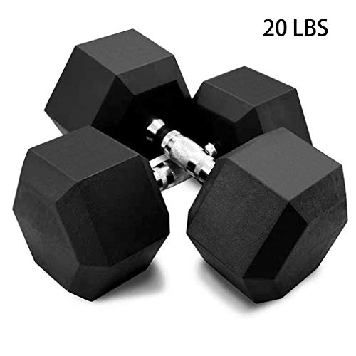 Set of 2 Hex Rubber Dumbbell with Metal Handle for Strength Training, Weight Loss, Workout...
