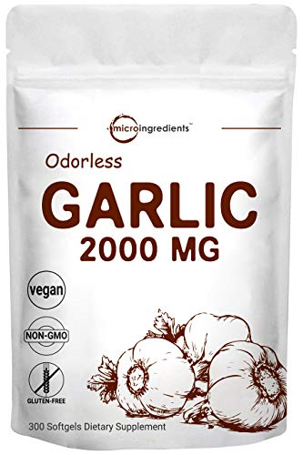 Maximum Strength Odorless Garlic, 300 Soft-gels, 2000mg Pure and Potent Garlic Allium Sativum...