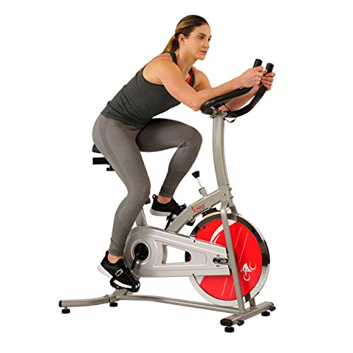 Sunny Health & Fitness Indoor Exercise Stationary Bike with Digital Monitor, 22 LB Chromed...