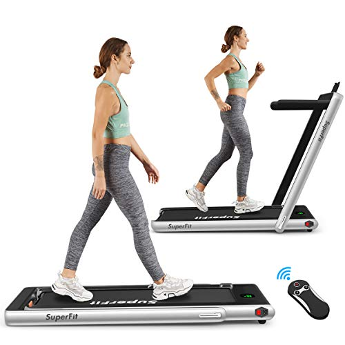 Goplus 2 in 1 Folding Treadmill, 2.25HP Under Desk Electric Treadmill, Installation-Free, with...