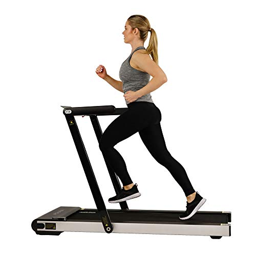 Sunny Health & Fitness Asuna Space Saving Treadmill, Motorized with Low Profile, Speakers &...