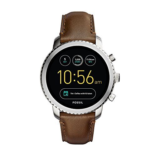 Fossil Q Men's Gen 3 Explorist Stainless Steel and Leather Smartwatch, Color: Silver-Tone,...