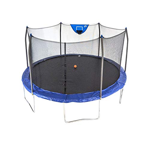 Skywalker Trampolines 15-Foot Jump N' Dunk Round Trampoline with Enclosure Net - Basketball...