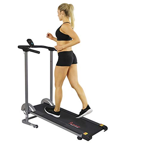 Sunny Health & Fitness SF-T1407M Manual Walking Treadmill with LCD Display, Compact Folding,...
