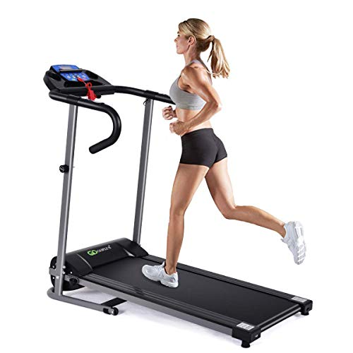 Goplus 1100W Electric Folding Treadmill, with LCD Display and Heart Rate Sensor, Compact...