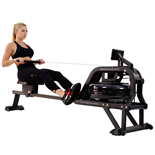 Sunny Health & Fitness Water Rowing Machine Rower w/LCD Monitor - Obsidian SF-RW5713