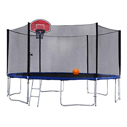 Exacme 8 Foot Small Trampoline with Basketball Hoop and Enclosure Net for Kids, Orange...