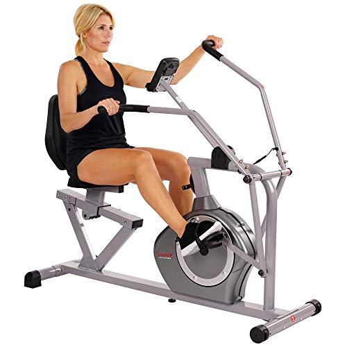 Sunny Health & Fitness Magnetic Recumbent Bike Exercise Bike, 350lb High Weight Capacity, Cross...