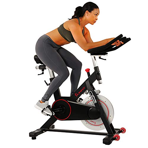 Sunny Health & Fitness Magnetic Belt Drive Indoor Cycling Bike with 44 lb Flywheel and Large...