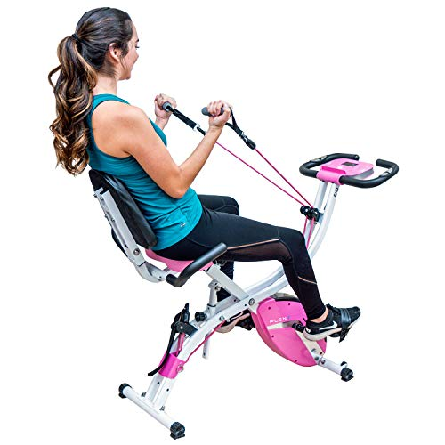 PLENY Premium Foldable Recumbent Exercise Bike with Adjustable Resistance Bands For Arm & Leg,...
