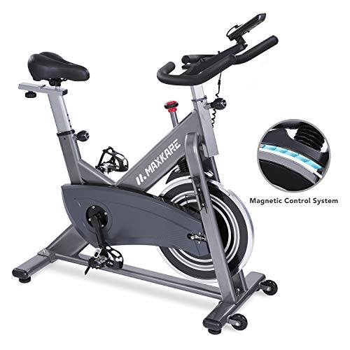 MaxKare Magnetic Exercise Bike Belt Drive Stationary Indoor Cycling Bike with High Weight...