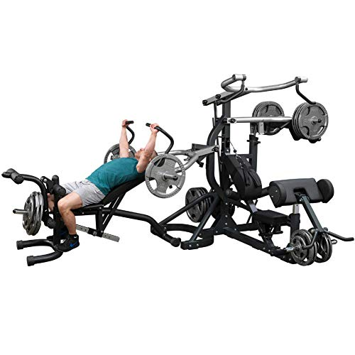 Body-Solid Free-Weight Leverage Gym with Squat Attachment and Olympic Leverage Flat Incline...