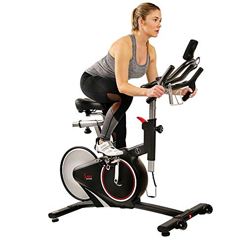 Sunny Health & Fitness Magnetic Rear Belt Drive Indoor Cycling Bike with RPM Cadence Sensor -...