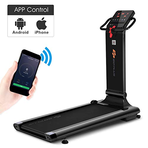 Goplus Electric Folding Treadmill, Free-Install Design, with APP Control and Touch Screen,...