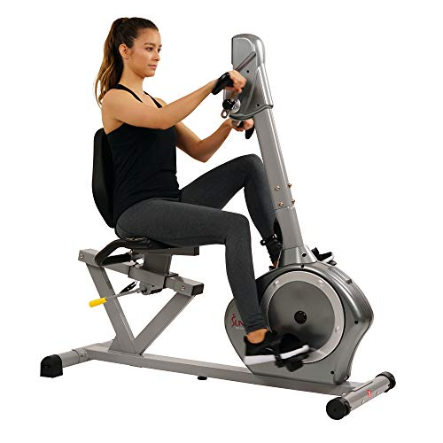 Sunny Health & Fitness Magnetic Recumbent Bike Exercise Bike, 350lb High Weight Capacity, Arm...