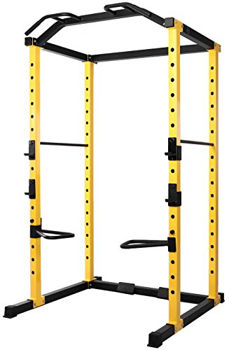 HulkFit 1000-Pound Capacity Multi-Function Adjustable Power Cage with J-Hooks and Dip Bars,...