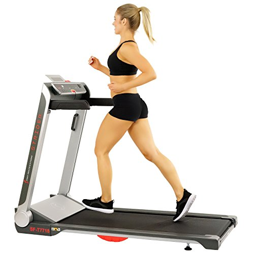 Sunny Health & Fitness Motorized Folding Running Treadmill with Wide Base, Portable, USB, Aux,...