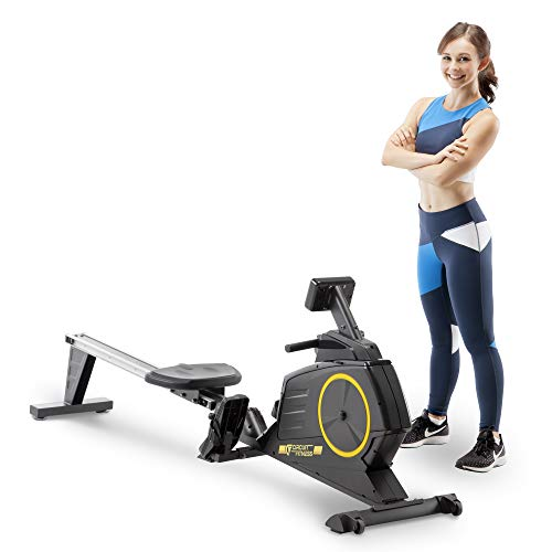 Circuit Fitness Deluxe Foldable Magnetic Rowing Machine with 8 Resistance Settings & Transport...