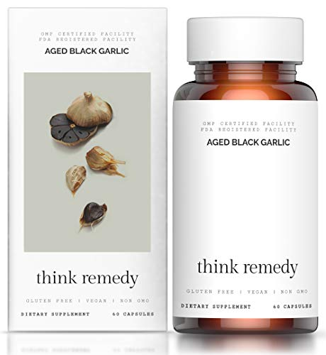 Aged Black Garlic Capsules - Garlic Pills for High Blood Pressure and Cholesterol Support -...