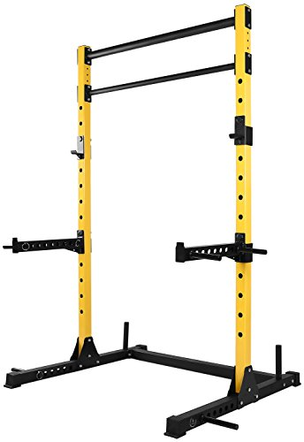 HulkFit Multi-Function Adjustable Power Rack Exercise Squat Stand with J-Hooks, Spotter Arms...
