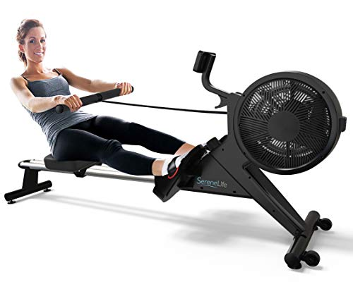 SereneLife Home Rowing Machine – Air and Magnetic Rowing Machine – Exercise Machine for Gym...