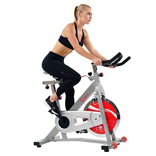 Sunny Health & Fitness Spin Bike SF-B901B Belt Drive Pro Indoor Cycling Exercise Bike,Grey