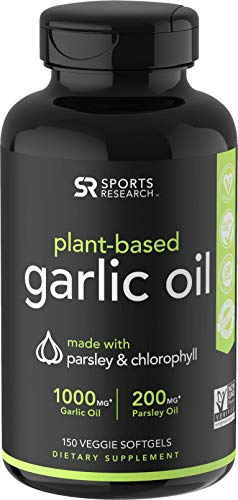 Odorless Garlic Oil Pills (1000mg) with Parsley & Chlorophyll | The only Vegan Certified Garlic...