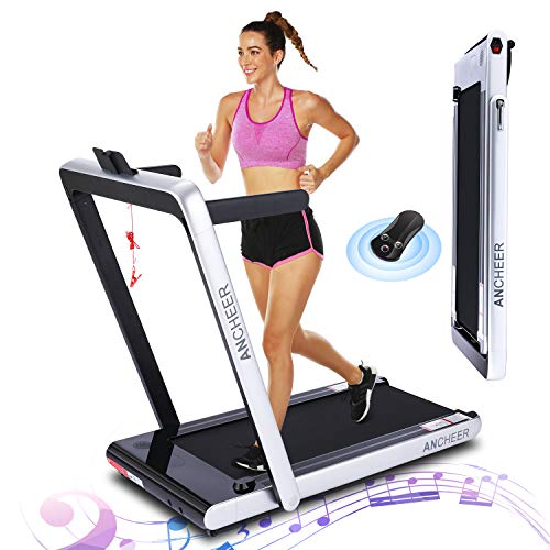 ANCHEER 2 in1 Folding Treadmill, 2.25 HP Smart Walking Running Machine with Bluetooth Audio...