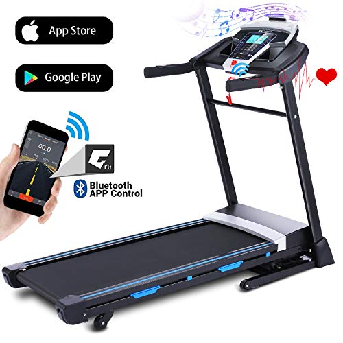 ANCHEER Folding Treadmill, 3.25HP Automatic Incline Treadmill with Bluetooth Speaker, Walking...