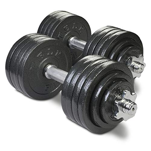 TELK Adjustable Dumbbells (105 LBS Pair) with Gloss Finish and Secure Collars, 65 with...