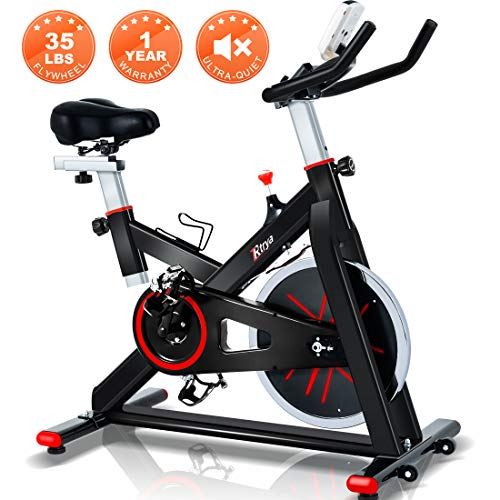 Trya Indoor Cycling Bike Stationary - Spin Bike with 35 LB Chromed Flywheel, Silent Belt Drive,...