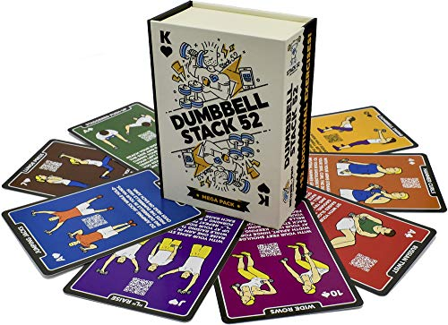 Stack 52 Dumbbell Exercise Cards. Dumbbell Workout Playing Card Game. Video Instructions...