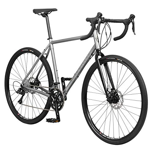 Pure Cycles Adventure Gravel Pro 18-Speed Disc Road Bike, 54cm/Large, Henday Grey