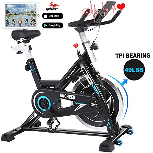 ANCHEER Indoor Cycling Bike, Stationary Exercise Bike with Heart Rate Monitor, Comfortable Seat...