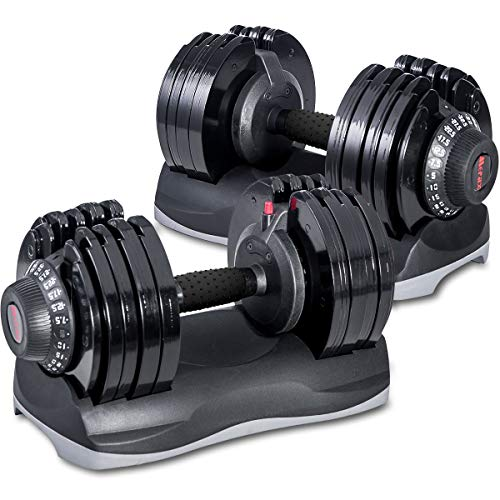 Merax Deluxe 71.5 Pounds Adjustable Dial Dumbbell with Weight Plate for Home Gym 2 PCS (2 x...