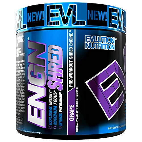 Evlution Nutrition ENGN Shred Pre Workout Thermogenic Fat Burner Powder, Energy, Weight Loss,...