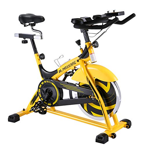 MaxKare Stationary Bike Belt Drive Indoor Cycling Bike 44lbs Flywheel & Pulse Sensor/LCD...