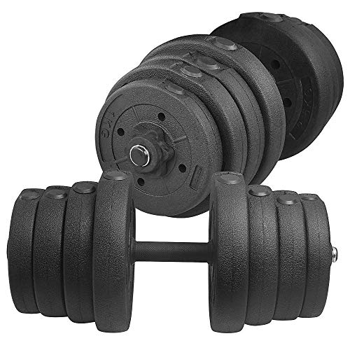 Yaheetech Adjustable 66LB Dumbbell Weight Set Barbell Lifting w/ 4 Spinlock Collars & 2...