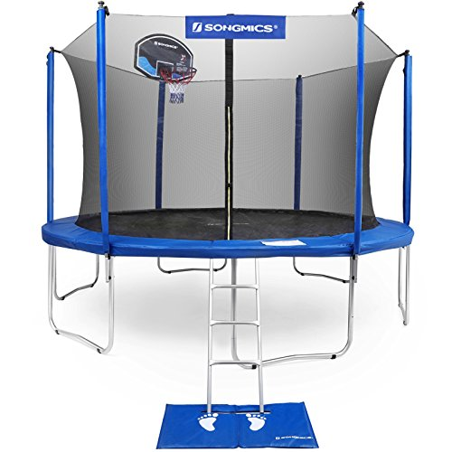 SONGMICS 15-Foot Trampoline with Enclosure Net, Basketball Hoop, Jumping Mat, Safety Pad,...
